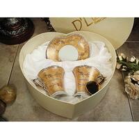 D'Lusso Designs Deco Gold Design 4 Piece Espresso Set In Heart Box