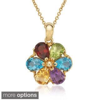 14k Gold Pear-shape Gemstone Flower Necklace