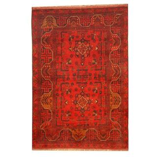 Herat Oriental Afghan Khal Mohammadi Red/ Navy Wool Rug (3'4 x 4'10)