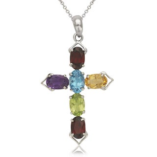 14k White Gold Multi-gemstone Oval Cross 16-inch Necklace - Purple