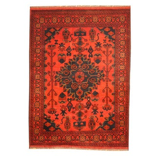 Herat Oriental Afghan Hand-knotted Khal Mohammadi Red/ Navy Wool Rug (3'6 x 4'10)