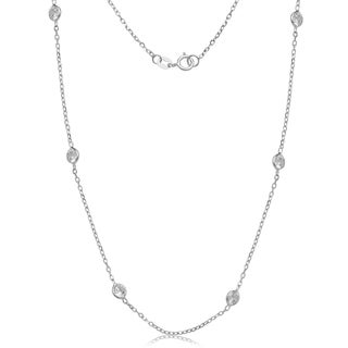 14k White Gold Cubic Zirconia by the Yard Station Necklace