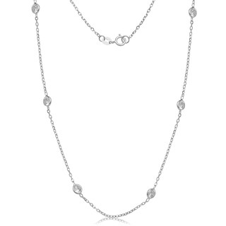 14k White Gold Cubic Zirconia by the Yard Station Necklace (2 options available)