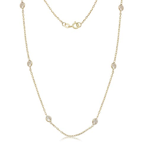 14k Yellow Gold Cubic Zirconia by the Yard Station Necklace - White