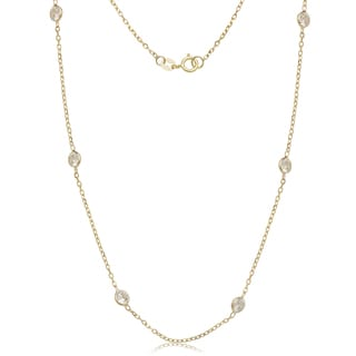 14kYellow Gold Cubic Zirconia by the Yard Station Necklace