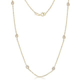14kYellow Gold Cubic Zirconia by the Yard Station Necklace - White