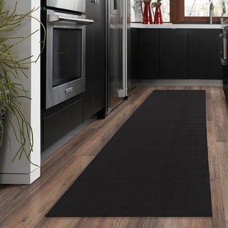 "Ottomanson Ottohome Collection Carpet Black Solid Runner Rug with Rubber Backing (1'10 x 12') - 1'10"" x 12'"