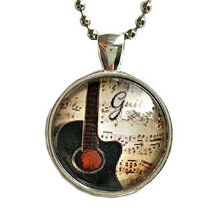 Atkinson Creations Guitar Glass Dome Pendant Necklace