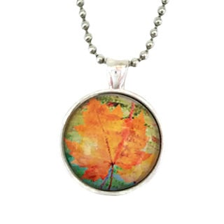 Atkinson Creations The Canadian Maple Leaf Glass Dome Necklace