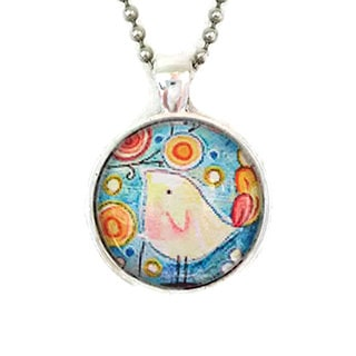 Atkinson Creations Whimsical Birdie Design Glass Dome Pendant Necklace
