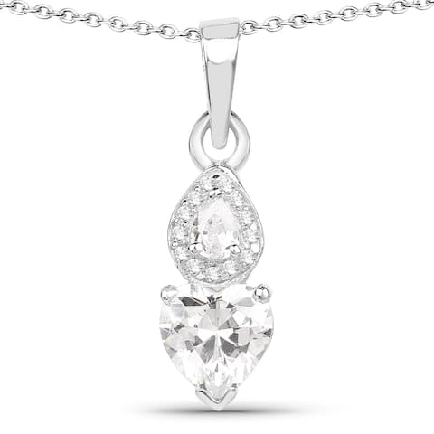 Malaika .925 Sterling Silver 2 1/5ct TGW White Cubic Zirconia Heart Shape Pendant