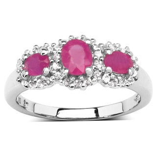Olivia Leone .925 Sterling Silver 1 3/8ct TGW Genuine Ruby and White Topaz Ring