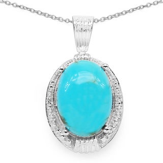 Olivia Leone .925 Sterling Silver 10ct TGW Turquoise and White Topaz Pendant