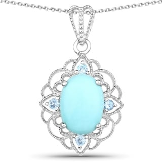 Malaika .925 Sterling Silver 5 3/8ct TGW Turquoise and Blue Topaz Pendant