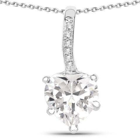 Malaika .925 Sterling Silver 4 4/5ct TGW White Cubic Zirconia Heart Shape Pendant