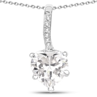 Link to Malaika .925 Sterling Silver 4 4/5ct TGW White Cubic Zirconia Heart Shape Pendant Similar Items in Necklaces