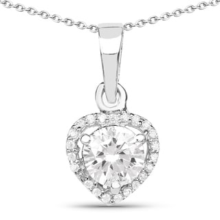 Link to Malaika .925 Sterling Silver 1 5/8ct TGW White Cubic Zirconia Heart Shape Pendant Similar Items in Necklaces