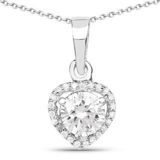 Malaika .925 Sterling Silver 1 5/8ct TGW White Cubic Zirconia Heart Shape Pendant