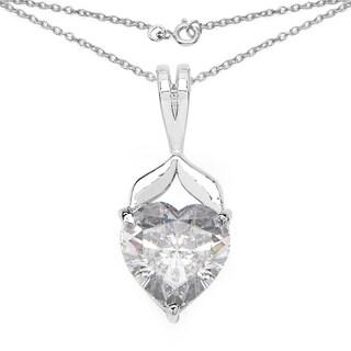 Olivia Leone .925 Sterling Silver 3 1/4ct TGW White Cubic Zirconia Heart Shape Pendant