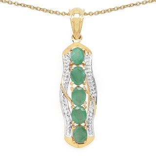 Malaika 14k Yellow Goldplated .925 Sterling Silver 1 3/4ct TGW Genuine Emerald Pendant