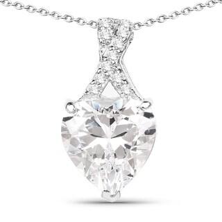 Olivia Leone .925 Sterling Silver 4 7/8ct TGW White Cubic Zirconia Heart Shape Pendant
