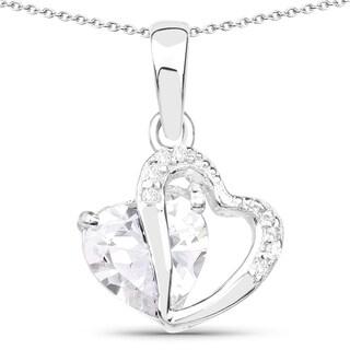 Olivia Leone .925 Sterling Silver 3 1/3ct TGW White Cubic Zirconia Heart Shape Pendant