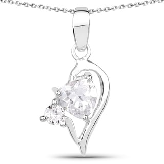 Link to Olivia Leone .925 Sterling Silver 1 5/8ct TGW White Cubic Zirconia Heart Shape Pendant Similar Items in Necklaces