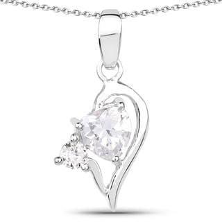 Olivia Leone .925 Sterling Silver 1 5/8ct TGW White Cubic Zirconia Heart Shape Pendant