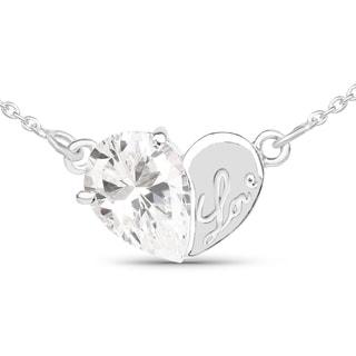 Olivia Leone .925 Sterling Silver 3 1/5ct TGW White Cubic Zirconia Heart Shape Pendant
