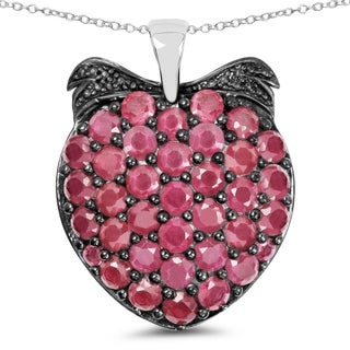 Olivia Leone .925 Sterling Silver 4 7/8ct TGW Genuine Ruby Pendant