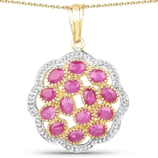 Malaika 14k Yellow Goldplated .925 Sterling Silver 3 1/2ct TGW Genuine Ruby Pendant
