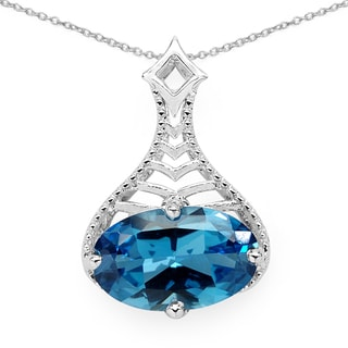Olivia Leone .925 Sterling Silver 6 5/8ct TGW Fancy Shape Genuine Blue Topaz Pendant