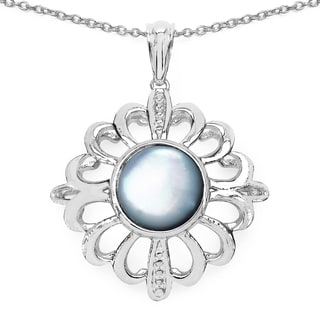 Malaika .925 Sterling Silver 3 1/3ct TGW Fancy Shape Genuine Pearl Pendant