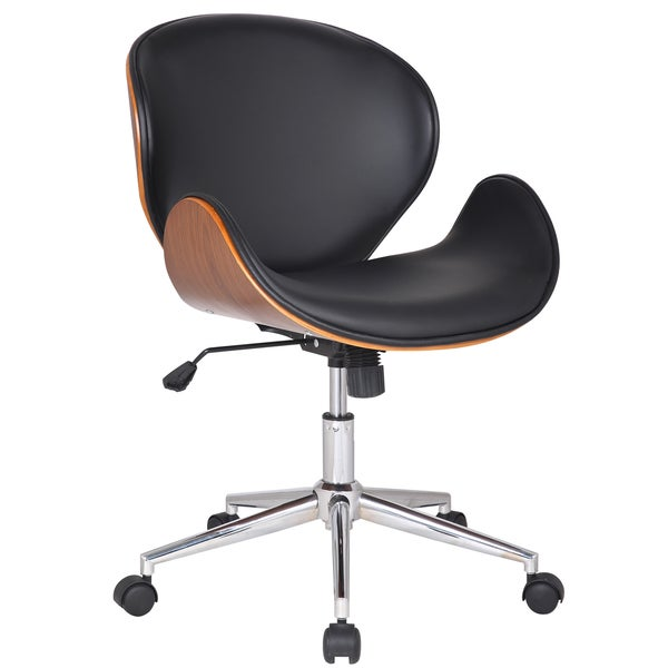 Adeco Bentwood Adjustable Swivel Home Office Mobile Desk Chair With PU Leathe