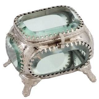 Joya Sq. Metal/Glass Jewelry Box