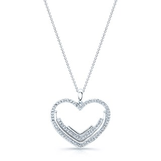 14k White Gold 1/2ct TDW Diamond Heart Halo Pendant (H-I, SI1-SI2)