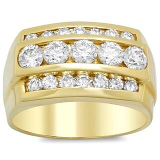 14k Yellow Gold Men's 2 1/3ct TDW Diamond Wedding Ring (F-G, SI1-SI2)
