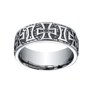 Cobalt Men's 1/5ct TDW Black Diamond Maltese Cross 9mm Ring