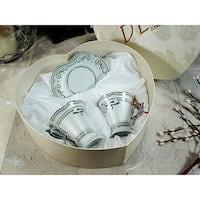D'Lusso Designs Deco Silver Design 4 Piece Espresso Set In Heart Box