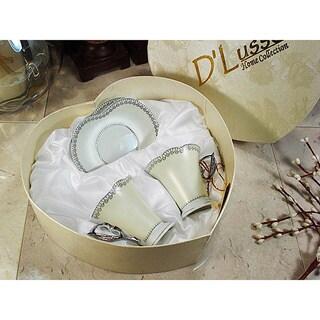 D'Lusso Designs Silver Border Design 4 Piece Espresso Set In Heart Box