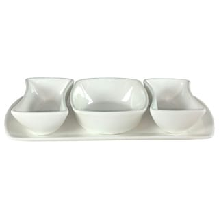 Vanilla Fare 3 Section Bowls on Tray