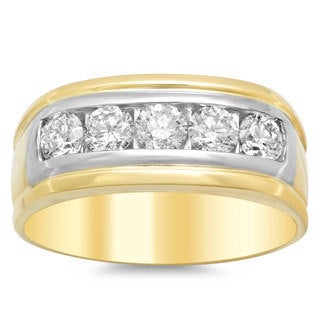 14k Two-tone Gold Men's 1 1/2ct TDW Diamond Wedding Ring (F-G, SI1-SI2)
