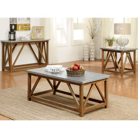 Furniture of America Gazy Industrial Brown 3-piece Accent Table Set