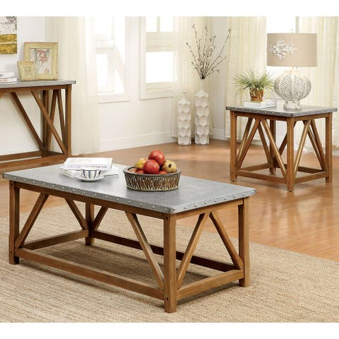 Furniture of America Gazy Brown 2-piece Coffee and End Table Set