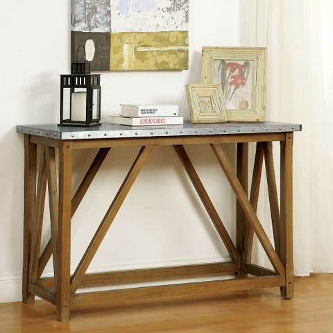 Furniture of America Gazy Industrial Brown Iron Top Sofa Table
