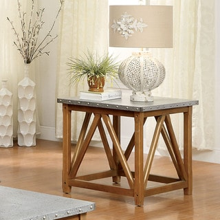 Furniture of America Loren Industrial Style Iron Top End Table
