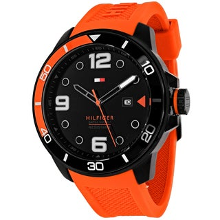 Tommy Hilfiger Men's 1791154 Keith Round Orange Silicone Strap Watch