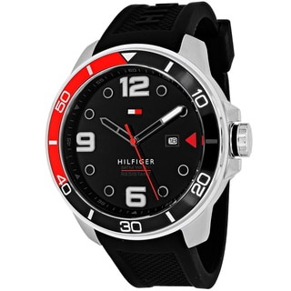 Tommy Hilfiger Men's 1791153 Keith Round Black Silicone Strap Watch