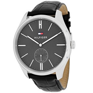Tommy Hilfiger Men's 1791168 Curis Round Black Leather Strap Watch