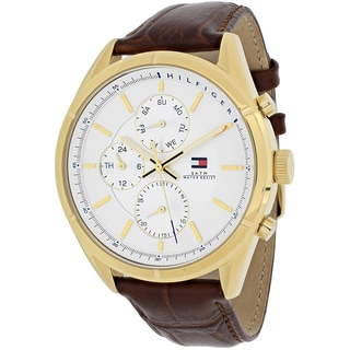 Tommy Hilfiger Men's 1791127 Classic Charlie Round Brown Leather Strap Watch